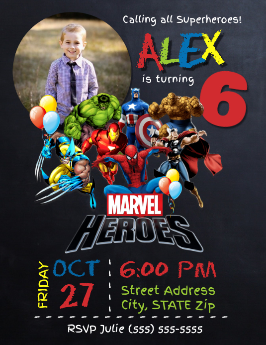 superhero birthday invitation template postermywall