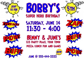 Superhero Birthday Invitation Ikhadi leposi template