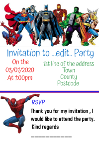 Superhero birthday part invite Poster template