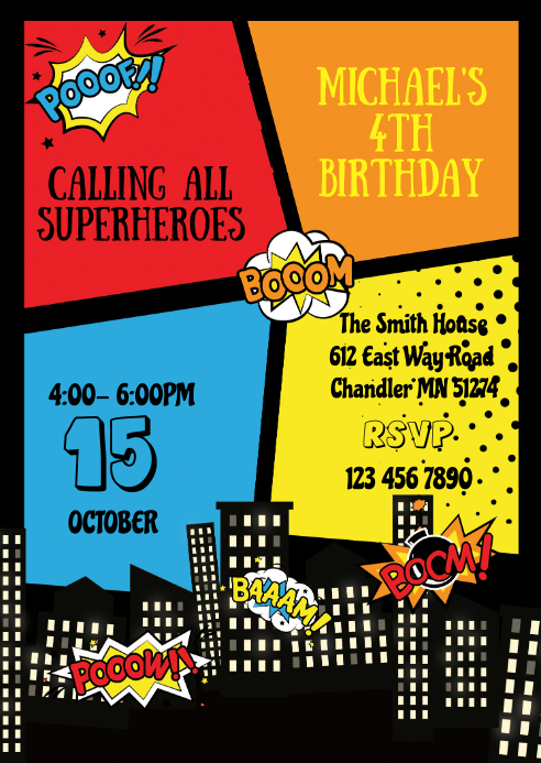Superhero birthday party invitation A6 template