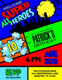 Superhero Birthday Party Invitation Flyer Folheto (US Letter) template