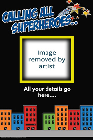superhero city party event flyer invitation collage family