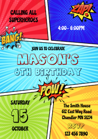 Superhero comic birthday invitation A6 template