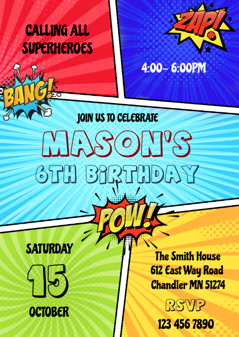 Superhero comic birthday invitation A6 template