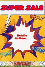 Superhero Comic Sale Party Invitation Camp Poster