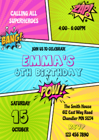 Superhero girl comic birthday invitation A6 template