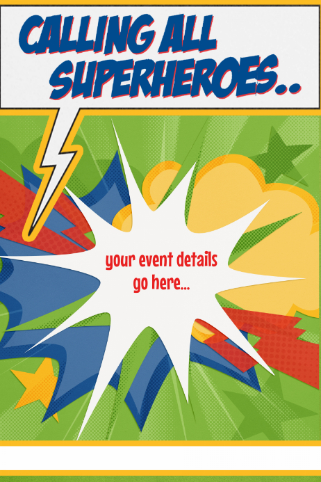 Superhero Hiring Party Birthday Camp Movie Template Plakat