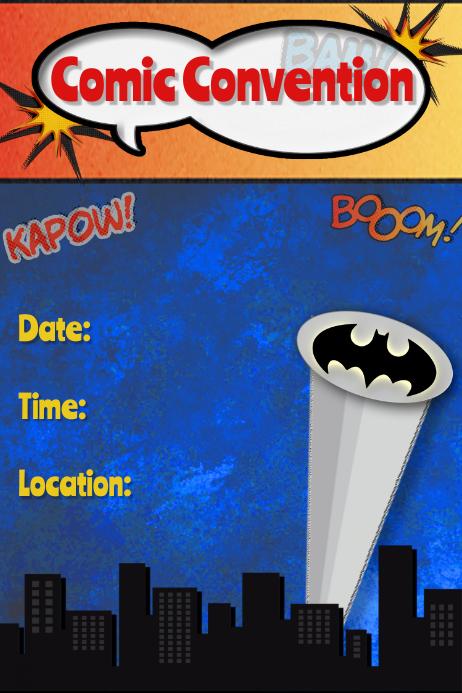 Superhero Poster Flyer Invitation Batman Marvel Comics template