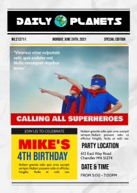 Superhero newspaper birthday theme invitation