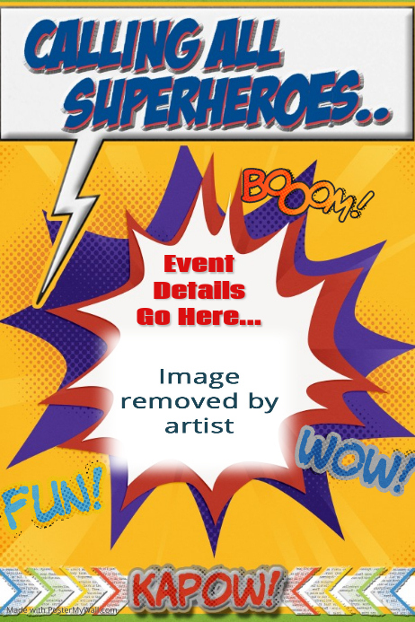 superhero party event invitation template poster flyer postermywall