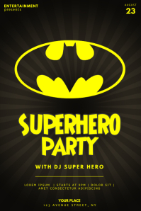 Superhero Party Flyer template batman