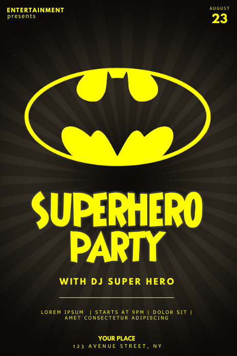 Superhero Party Flyer template batman Póster