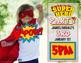 SUPERHERO PARTY FLYER TEMPLATE FREE