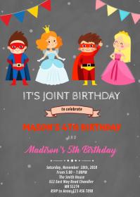 Superheroes and princess birthday invitation A6 template