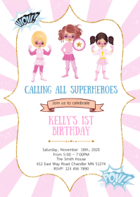 Superheroes birthday party invitation