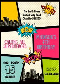 Superheroes girl birthday party invitation