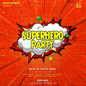 Superherp party video instagram template Square (1:1)