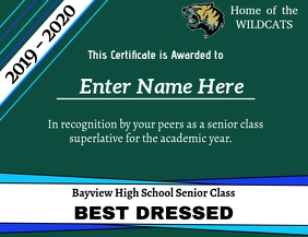 Superlative Certificate - Best Dressed