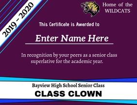 Superlative Certificate - Class Clown