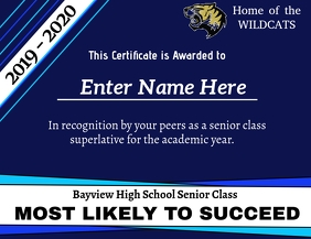 Superlative Certificate - Most Likely to Succ Folheto (US Letter) template