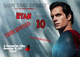 Superman Birthday Invitation Cartolina template