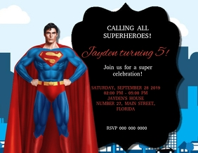 Superman Birthday Party Invitation Templat Pamflet (Letter AS) template