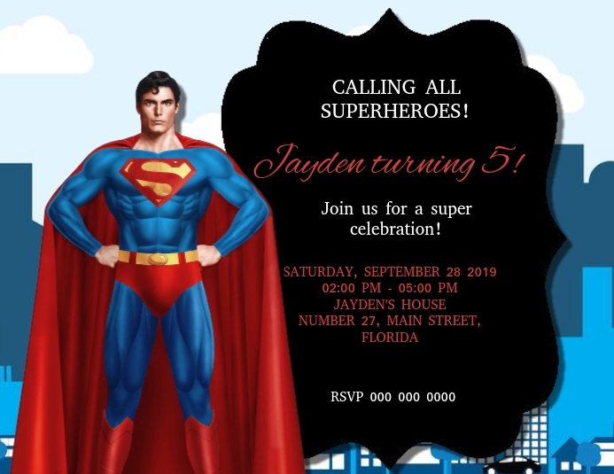 Superman Birthday Party Invitation Templat