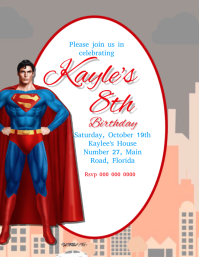 Superman Birthday Party Invitation Template