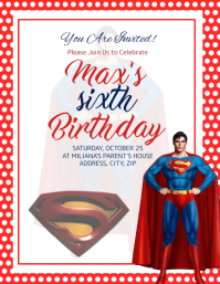 Superman kids Birthday Invitation Template