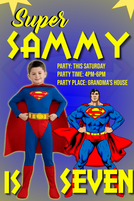 Super Man Theme Birthday Party Invite Banner 4' × 6' template
