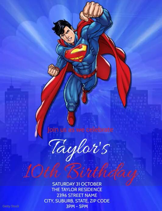 Superman Party Invitation Template