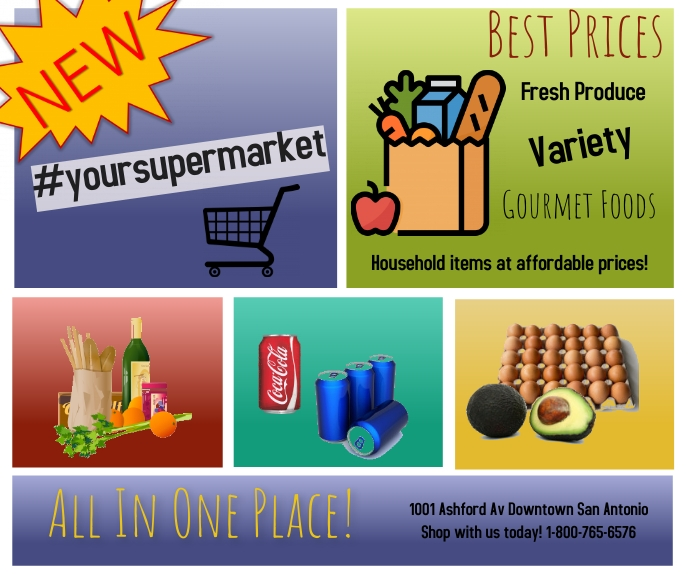 supermarket ad/sale ad/new store/discounts Large Rectangle template