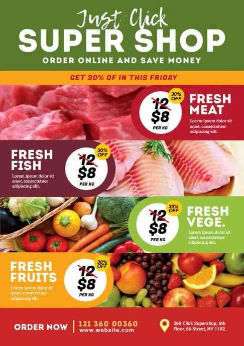 Supermarket Product Promotion Video Ad A4 template
