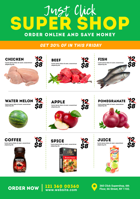 Supermarket Promotion Flyer A4 template