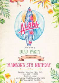Surf birthday party invitation