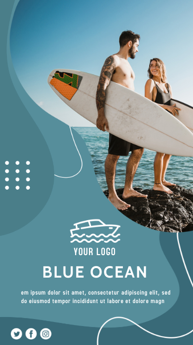 Surf Camp Poster Instagram Story template