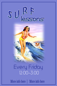 Surf Lessons Poster Template