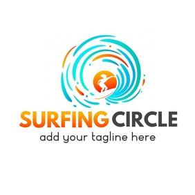 surfing circle logo template design