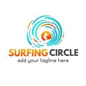 surfing circle logo template design โลโก้