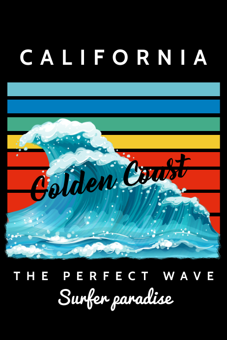Surfing Wave Paradise Poster Template Plakat