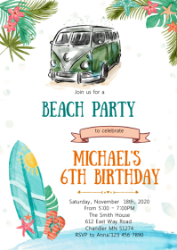 Surfs up birthday party invitation