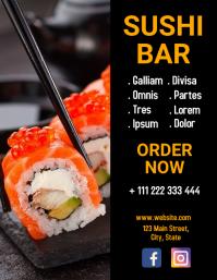 sushi bar flyer design template
