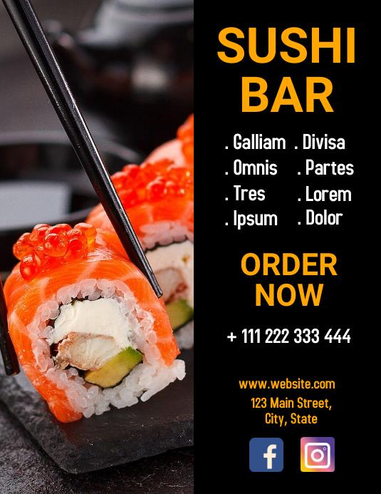 sushi bar flyer design template Løbeseddel (US Letter)
