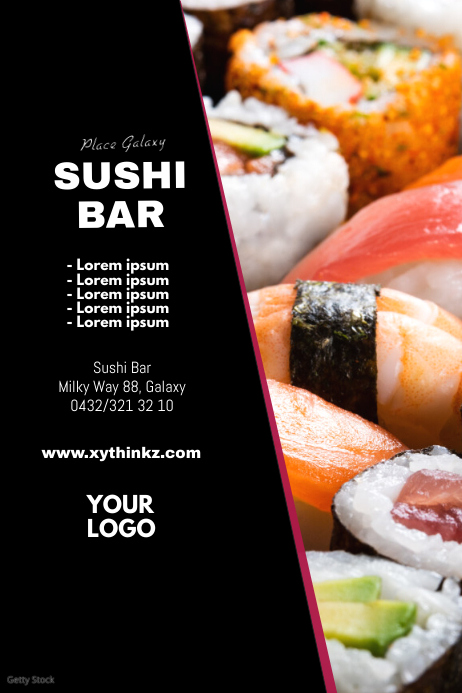 Sushi Bar Restaurant china Chinese food ad