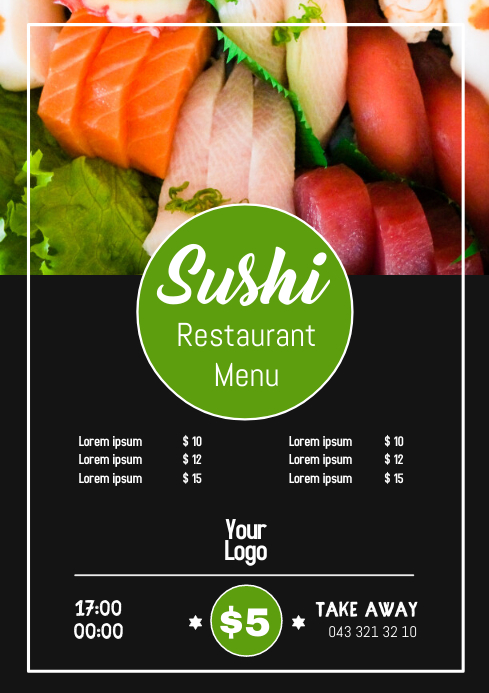 Sushi Bar Restaurant China Food Menu Price ad A4 template
