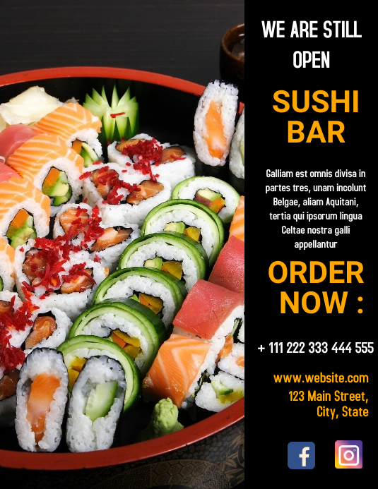 Sushi bar restaurant flyer template design Løbeseddel (US Letter)