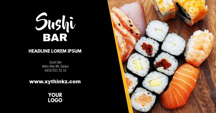 Sushi Bar Special China Restaurant Food delt Facebook-billede template