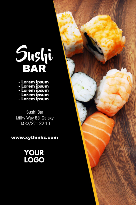 Sushi Bar Special Flyer China Restaurant Food Plakat template