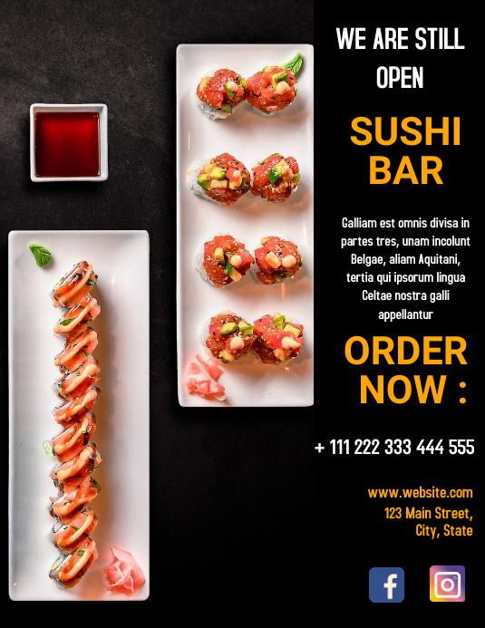 Sushi bar we're still open flyer Løbeseddel (US Letter) template