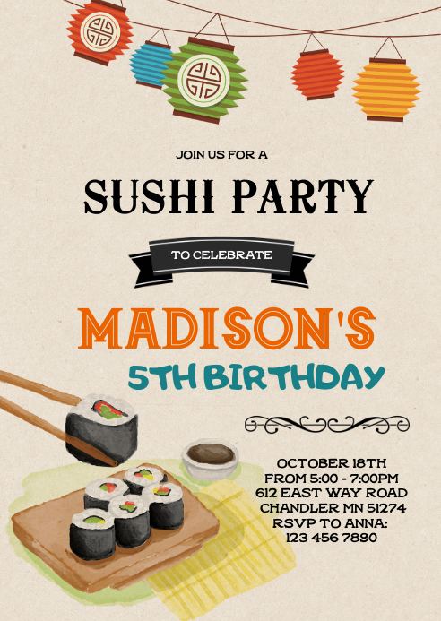 Sushi birthday invitation A6 template
